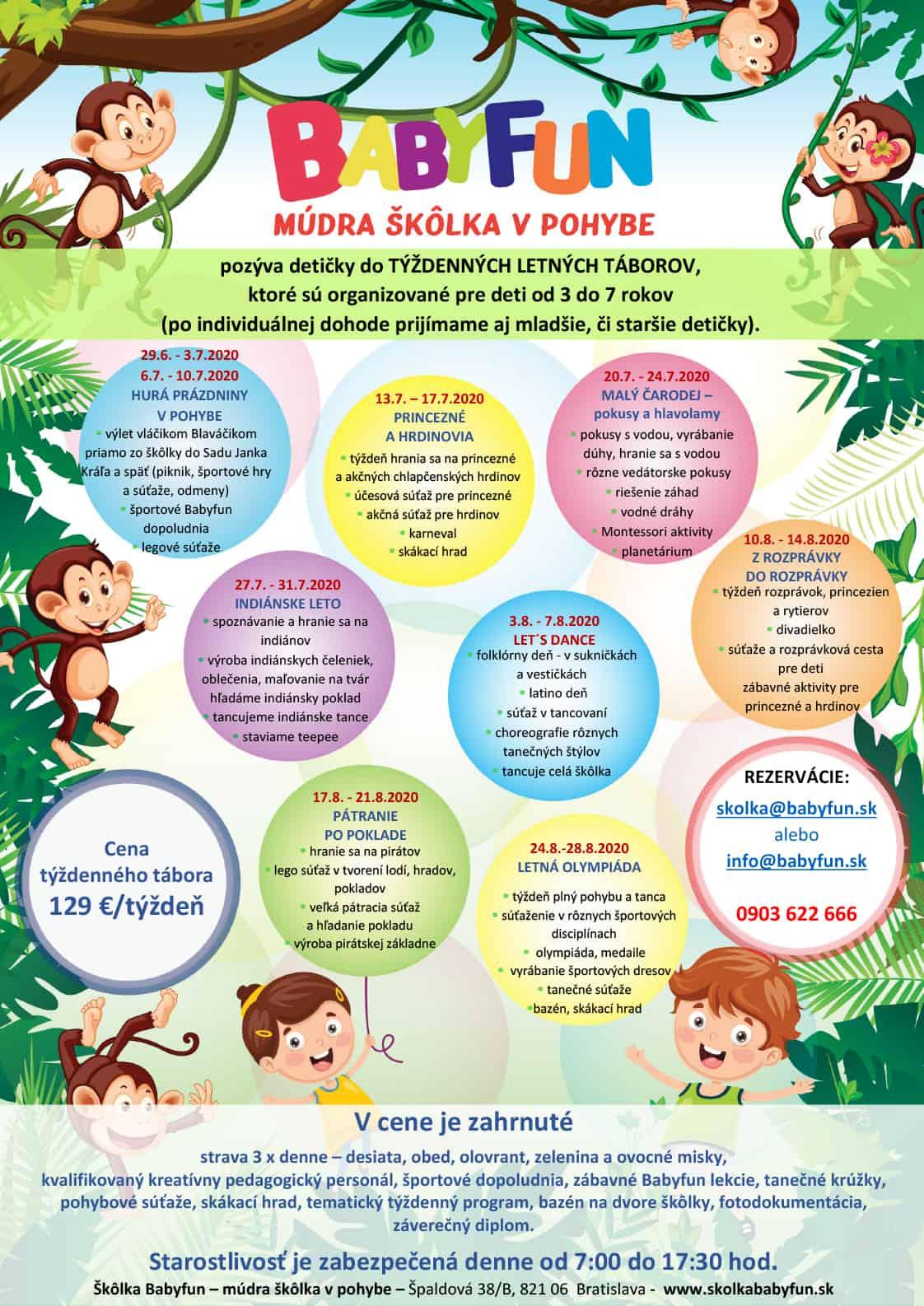 Letné tábory Škôlka Babyfun 2020